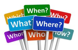 Color signs with questions Stock Photos