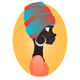 Color silhouette of african girl in profile with earrings Royalty Free Stock Images