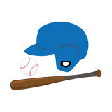 Color silhouette with ball and helmet and baseball bat Stock Photos