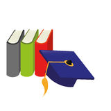 Color silhouette with books and graduation hat. Vector illustration Stock Photography