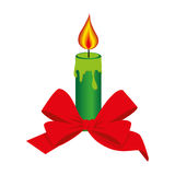 Color silhouette with christmas candle and red bow Royalty Free Stock Images