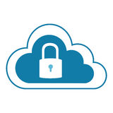 Color silhouette with cloud service with padlock Royalty Free Stock Photos
