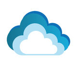 Color silhouette with cloud and white background Royalty Free Stock Photo