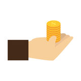 Color silhouette with coins in hand Royalty Free Stock Image