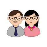 Color silhouette with couple half body both with glasses Royalty Free Stock Image