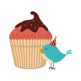 Color silhouette with cupcake and bird Stock Images