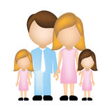 Color silhouette faceless with dad mom and two female daughters in formal clothes. Illustration Stock Image