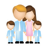 Color silhouette faceless with dad mom and two male sons in formal clothes Stock Images