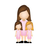 Color silhouette faceless with mother and daughters in formal clothes. Illustration Royalty Free Stock Photography