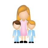 Color silhouette faceless with mother and sons in formal clothes Royalty Free Stock Images