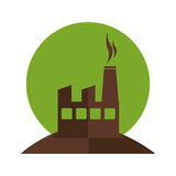 Color silhouette with factory and smoke contamination. Vector illustration Stock Image