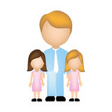 Color silhouette with father and daughters faceless. Illustration Royalty Free Stock Image