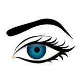 Color silhouette with female eye and eyebrow. Illustration Royalty Free Stock Images