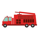 Color silhouette with fire truck. Vector illustration Stock Photos