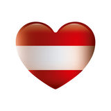 Color silhouette with flag of austria in heart shape Royalty Free Stock Photo
