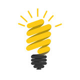 Color silhouette of florescent spiral bulb idea Royalty Free Stock Images
