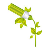 Color silhouette with fluorescent lamp with leaves and inclined to left side. Illustration Royalty Free Stock Image