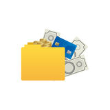Color silhouette of folder with money accounts. Illustration Royalty Free Stock Images