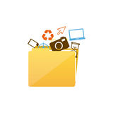Color silhouette of folder with personal files. Illustration Stock Photography