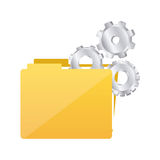 Color silhouette with folder and pinions. Illustration Stock Images