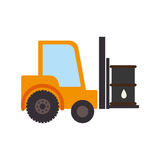 Color silhouette with forklift truck with forks and barrel Royalty Free Stock Photo