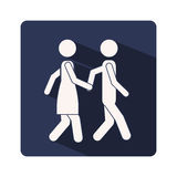 Color silhouette frame with couple walking and holding hands Stock Photos