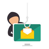 Color silhouette with hacker stealing mail information Royalty Free Stock Photography