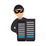 Color silhouette with hacker and tower server. Vector illustration Stock Photo