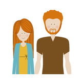 color silhouette half body with couple redhead and man with beard Royalty Free Stock Photo