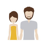 Color silhouette half body with woman in dress and man with beard Royalty Free Stock Photo