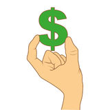 Color silhouette with hand holding currency symbol of dollar Stock Photography