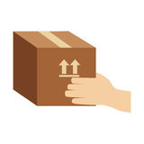 Color silhouette of hand holding sealed packing box Royalty Free Stock Photo
