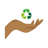 Color silhouette with hand and recycling symbol. Vector illustration Royalty Free Stock Photos