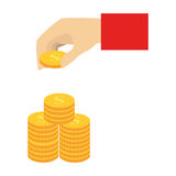 Color silhouette with hand stacking coins Stock Images