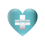 color silhouette with heart with cross with line of vital sign Royalty Free Stock Photos