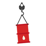 Color silhouette with hook crane and barrel Royalty Free Stock Photo