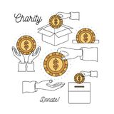 Color silhouette image set charity help others and hands depositing coin dollar symbol in palm. Vector illustration Vector Illustration