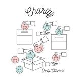Color silhouette image set charity help others and hands depositing coin in happy face shape in palm and in cardboard. Box vector illustration Royalty Free Illustration