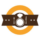 Color silhouette with kitchen logo with chefs hat and dish and cutlery Royalty Free Stock Photo