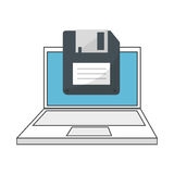 Color silhouette with laptop and floppy disk Royalty Free Stock Images