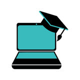 Color silhouette with laptop and graduation hat. Vector illustration Stock Image