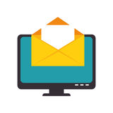 Color silhouette with lcd monitor and envelope mail on screen. Vector illustration Royalty Free Stock Photography