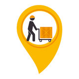 Color silhouette with map pointer with man carrying package. Vector illustration Stock Image
