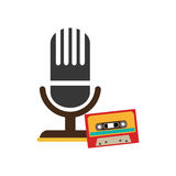 Color silhouette with microphone and tape cassette Royalty Free Stock Photos