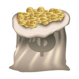 color silhouette with money bag of bank full of coins Royalty Free Stock Photos