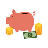 Color silhouette with moneybox in shape of pig. Vector illustration Royalty Free Stock Image