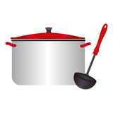 Color silhouette with pans and soup ladle. Vector illustration Stock Photography