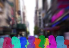 Color silhouette of people on street. Digital composite of color silhouette of people on street Royalty Free Stock Photography