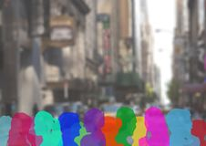 Color silhouette of people on a street. Digital composite of color silhouette of people on a street Royalty Free Stock Image