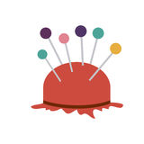 Color silhouette with pincushion with pins icon Royalty Free Stock Photography